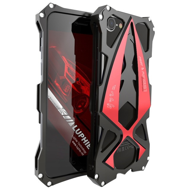 Aviation Aluminum Tough Red Armor Skal för Iphone 7 Plus/8 Plus
