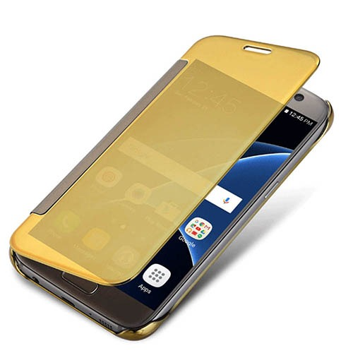 Clear View Mirror Screen Case Guld för Samsung S8