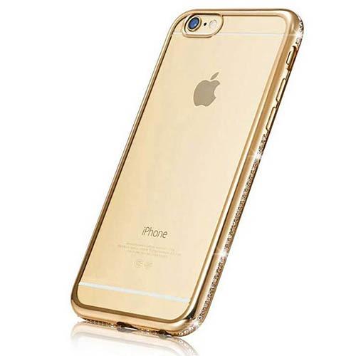 Luxury Diamond Frame Transparent TPU skal för Iphone 7/8 – Guld