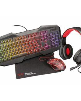 Gaming-paket med tangentbord, mus, headset och musmatta