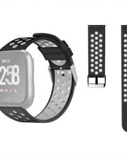 Klockarmband/silikonarmband Fitbit Versa - Svart/Grå