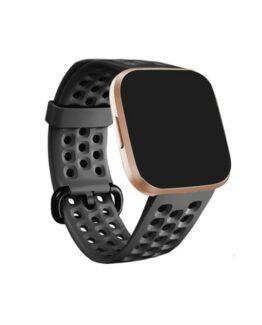 Perforerat silikon armband till FITBIT Versa 2, svart